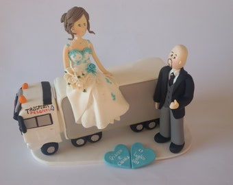 Customized bride and groom on truck wedding cake topper
