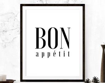 Bon Appetit, Kitchen Printable, Kitchen Art, Bon Appetit Print, Kitchen Print, French Printable, French Typography, Printable Kitchen Art