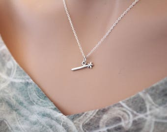 Sterling Silver Magic Wand Necklace, Silver Fairy Wand Charm Necklace, Fairy Wand Necklace, Magical Wand Necklace, Tiny Fairy Wand Necklace