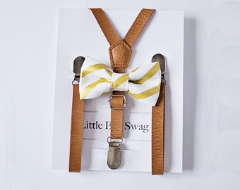 Rustic Wedding Ring Bearer Outfit, Wedding Bow Tie, Ring Bearer Suspenders, Toddler Suspenders, Boy Suspenders, Rustic Wedding, Gold Bow Tie