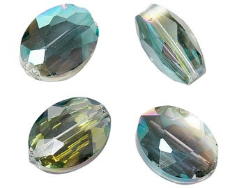 Set of 5 Green Transparent 12x9mm - SC62461 - oval glass beads