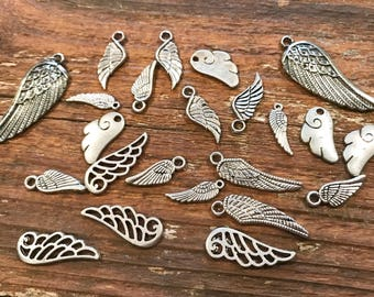 23 silver tone wing charms, jewelry making supplies