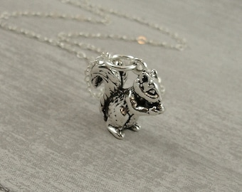 Squirrel Necklace, Sterling Silver Squirrel Charm on a Silver Cable Chain