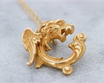 Antique Griffin Necklace | Victorian Necklace Pendant Gift for Her | 14k Yellow Gold Necklace | Antique C Letter Necklace | Gryphon