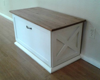 Made To Order   Farmhouse White Tilt Out Storage Bench / Hope Chest /  Blanket Chest