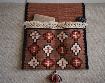 Bohemian Turkish kilim organizer, Rustic style sofa side pocket, Hand weave vintage oriental home decor, Keep your bits&pieces near at hand