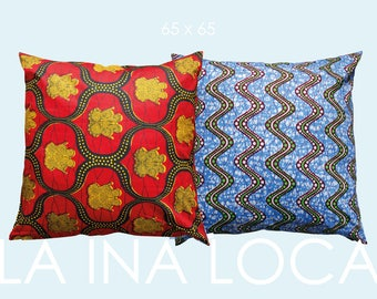 Casual ethno pillows with original African Waxprint