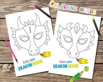 Dragon coloring masks, printable dragon masks, coloring masks, kids party activity, printable, dragon mask, printable mask, coloring mask