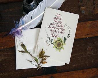 Dance greeting card with rhythm, art print,  motivational card, fun card, encouraging, pressed flower art