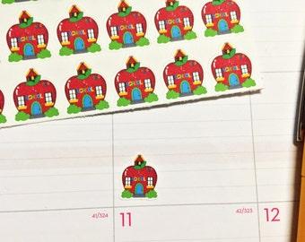 30 Apple School Stickers! Perfect for your Erin Condren Life Planner, Filofax, Plum Paper, other planner, scrapbooking!
