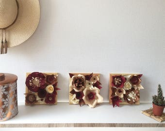 Set of 3 scenes of copper/red paper flowers