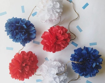 PARTRIOTIC mini pompom garland 4th of July red white blue captain america Independence Day bbq decorations table high chair outdoor backyard