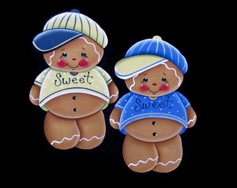 Gingerbread Boy in Baseball Cap Fridge Magnet or Ornament, Handpainted Wood Gingerbread Refrigerator Magnet, Hand Painted Ginger, Tole