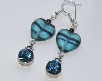 Blue heart resin earrings