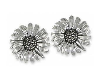 Daisy Cufflinks Jewelry Sterling Silver Handmade Flower Cufflinks DY5-CL