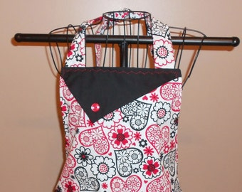 Black & Red Hearts - Flowers - Women's Apron - Ruffle - Pocket - Love - Valentine's Day