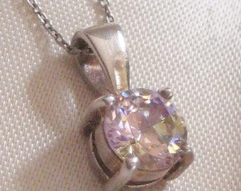 Vintage Rainbow CZ Sterling Silver Pendant Necklace