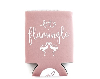 Can Cooler - Drink Holder - Let's Flamingle - Dusty Pink