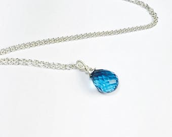 Blue Quartz Necklace, Wire Wrapped Briolette Gemstone Pendant, Sterling Silver, Gifts for Her, Cable Chain, Handmade by MiShelli
