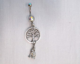 Double Dangle COYOTE Under The Tree Of Life Front & Back View 3D Alloy Charms On Dazzling Borealis CZ Gem 14g Belly Ring Navel Barbell