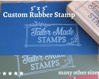 "Packaging Rubber Stamp, Custom Rubber Stamp, Logo Stamp, Packaging Rubber Stamp, 5"" x 5"" Wood Mounted"