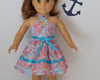 Handmade beautiful blue & pink multi colored halter dress has a full skirt, perfect for spring.  Made to fit like american girl doll clothes