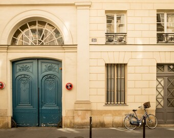 Paris bicycle photo fine art paris photography, travel photo, beautiful Parisian door, wall decor