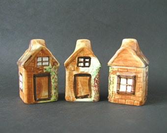 SALE - Vintage 3-Piece Set Salt & Pepper Shakers Matching Sugar Container Small Cottage Houses