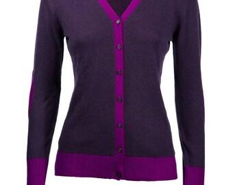 100 % cachemire violet vif & Aubergine Elbow Patch Cardi