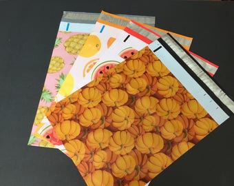 100  10x13 Fruit Combo CITRUS WATERMELON Pumpkin and  PINEAPPLE   Poly Mailers Self Sealing Envelopes 25 Each