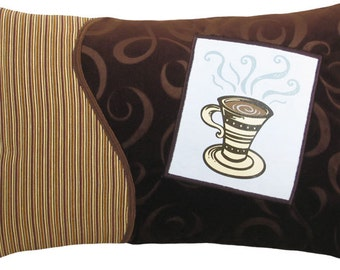 "Coffee Cup ""Tall"" Decorative Breakfast Size Pillow 12 x 18 inches"