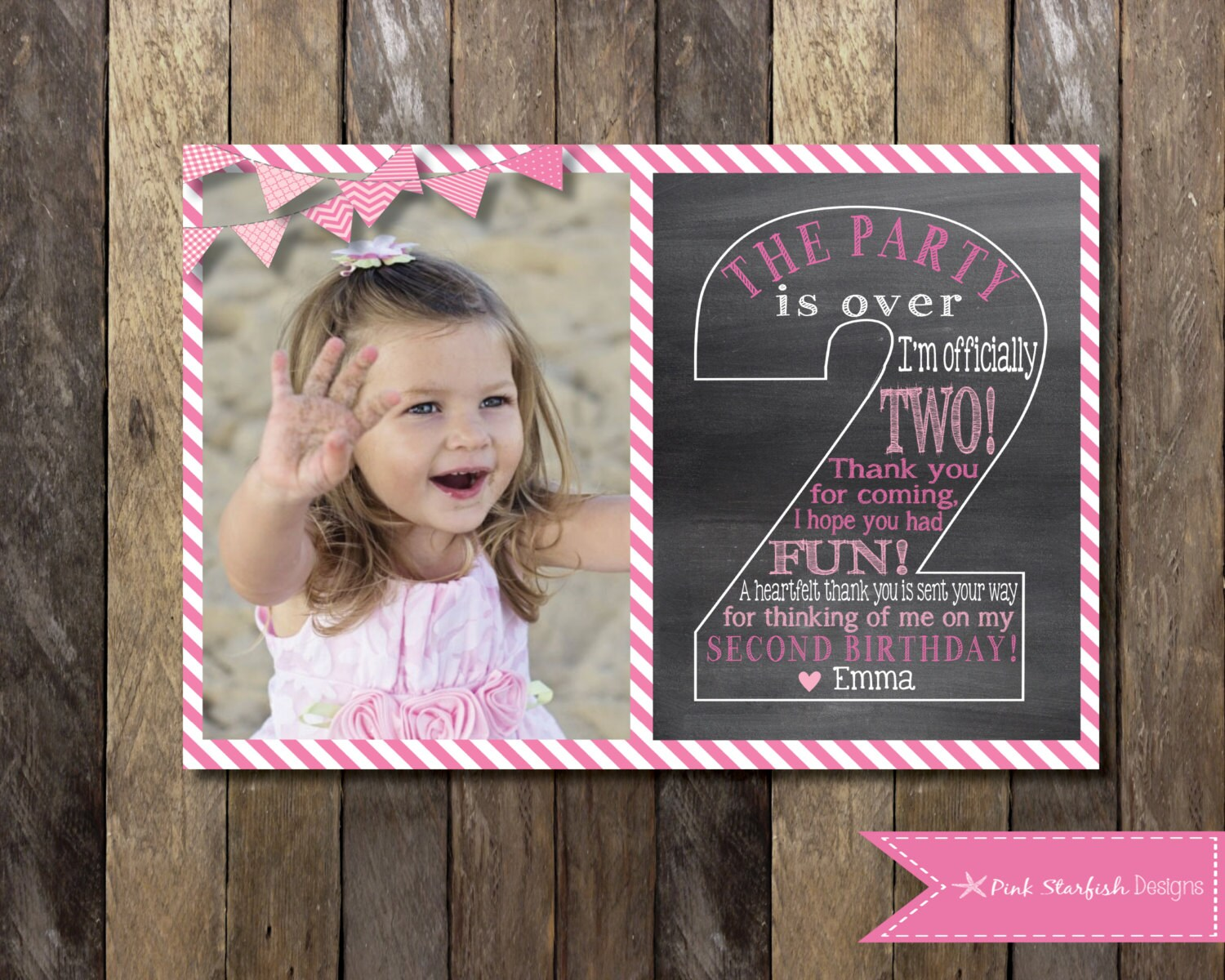 Chalkboard thank you card second birthday thank you two zoom bookmarktalkfo Image collections
