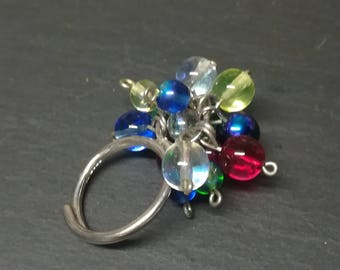 Silver jewellery. Silver ring. Handmade silver ring. Gorgeous statement ring sterling solid silver and glass bead ring