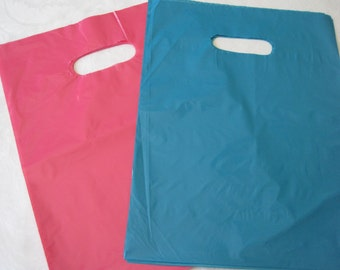 50 Pink Plastic Bags, Blue Plastic Bags, Gift Bags, Shopping Bags, Party Favor Bags, Retail Bags, Merchandise Bags, Bags with Handles 12x15