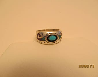 sterling silver vintage Native American Navajo ring turquoise coral inlay shadowbox
