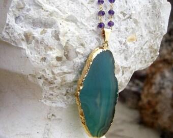 Green Brazilian Agate Slice Necklace, Amethyst Rosary chain, Geode Druzy Necklace - OOAK - Green Apple