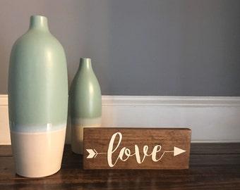 Love Arrow Wood Sign, Rustic Love Sign