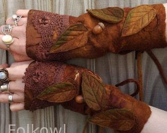 Faerie Cuffs-woodland- Folkowl Cuffs - leaf cuffs -  Forest Cuffs - Faerie Cuffs - Vintage lace glove -brown gloves