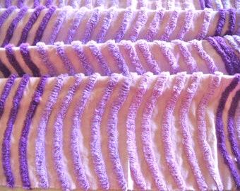 Purple Plush Ribbed Vintage Cotton Chenille Fabric