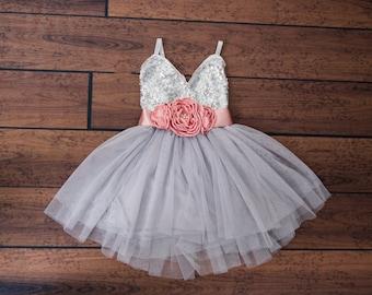 Silver Tulle Flower Girl Dress, Gray sequin dress, Gray Tulle, Grey Wedding, Silver Sash Belt set, glitter dress,Miniature Bridesmaid