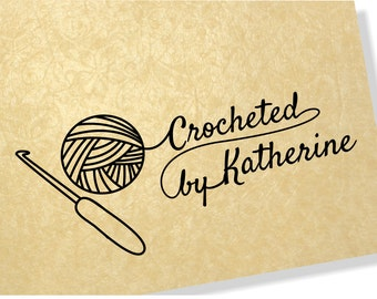 Crocheted by Stamp - Custom name option - 00109