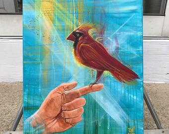 Ember-crested cardinal original fantasy painting by Michigan artist Dennis A!