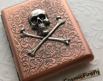 Big Cigarette Case Antiqued Copper Case Vintage Inspired Style Large Metal Case Gothic Victorian Steampunk Wallet Men's Wallet Metal
