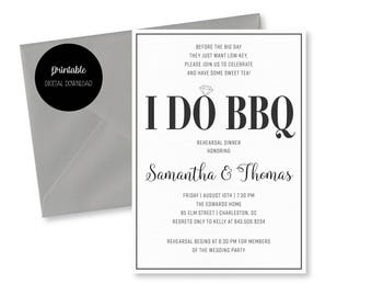 I Do BBQ Rehearsal Dinner/ Couples Shower/ Engagement Party Invitation - Printable Digital Download