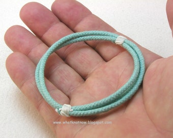 simple multi strand slip on rope bracelet beach teal blue cotton cord