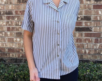 Womens Striped Button Up
