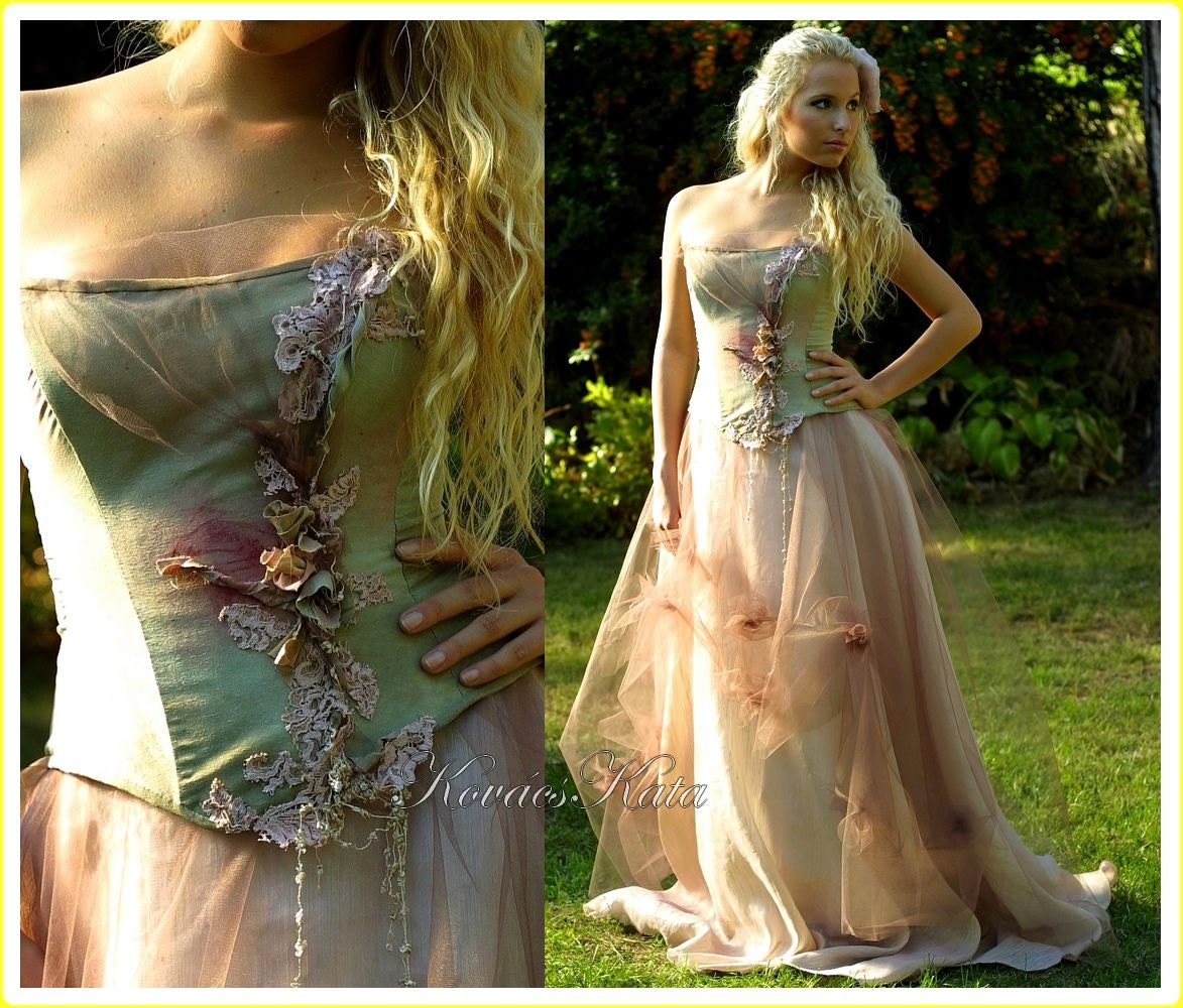 Magical Woodland Fairy Silk Fantasy Corset Wedding Gown OOAK