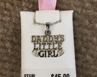 Daddy's Little Girl sterling silver pendant with 15 inch rope chain children's jewelry
