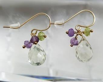 14K Solid Gold Green Amethyst Multi Gemstone Briolettes Earrings