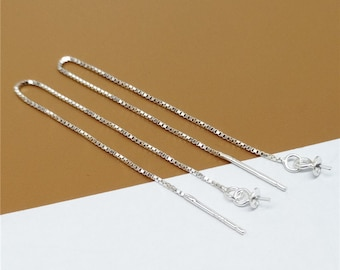 2 Pairs Sterling Silver Box Chain Ear Threads, Cable Chain Ear Threads, 925 Silver Ear Threads, Ear Threader - QY1280